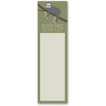 - Do Not Want To Do List Sloth Magnetic Sticky Notepad in Mossy Green