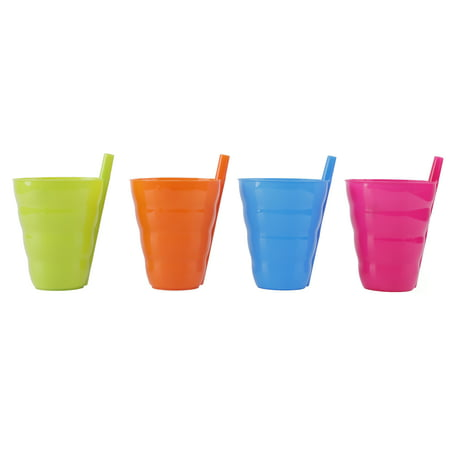 Ocean Blue Cup (10 OZ Reusable Plastic Cups with Straw Blue, Pink, Green, and Orange, Set of 4 )