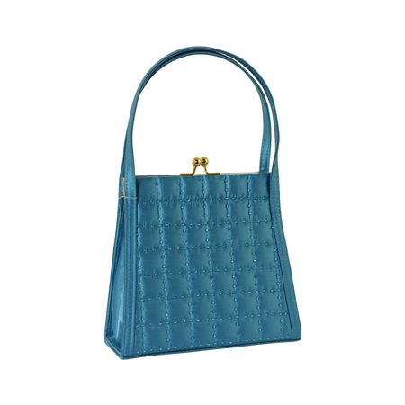 Latticed Stitched Evening Bag - Blue Satin Shoulder Bag With Kiss-lock Clasp for Ladies PS4140TG