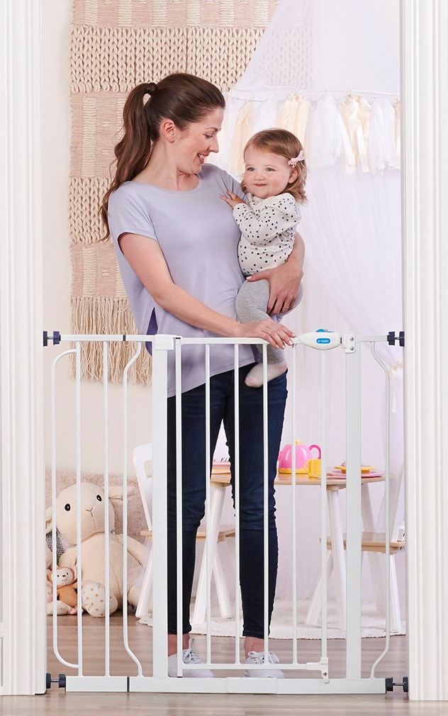 "Extra Tall Baby Pet Gate 29/"" 40/"" with Walk Through Childproof Locking Door"
