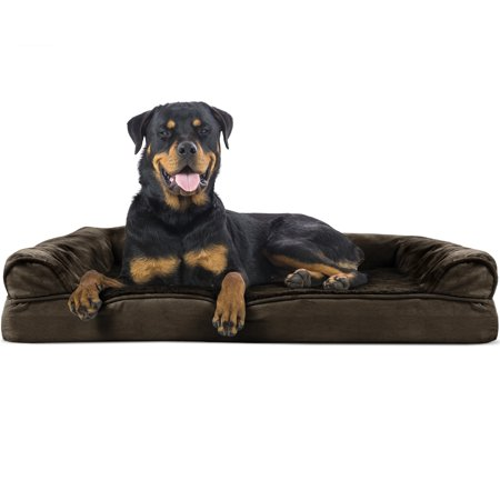 FurHaven Pet Dog Bed | Orthopedic Ultra Plush Sofa-Style Couch Pet Bed for Dogs & Cats, Espresso, Jumbo ()
