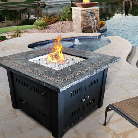 Image of Cloud Mountain Gas Fire Pit Table Outdoor Patio Garden FirePit Fireplace With Glass fiber