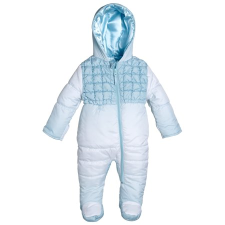 Winter Snowsuit (Wippette Infant Newborn Baby Girls Down Alternative Hooded Snowsuit Pram Bunting )