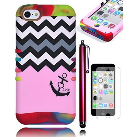 Love Protector Case (iPhone 5c Phone Case, Bastex Heavy Duty Hybrid Soft Tie Dye Silicone Cover Hard Chevron Pink Love Anchor Design Case for iPhone 5CINCLUDES SCREEN PROTECTOR AND STYLUS )