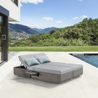 Ove Decors Nadia II Loveseat Outdoor Wicker Sofa; Rattan Daybed Set with Reclining Seat.