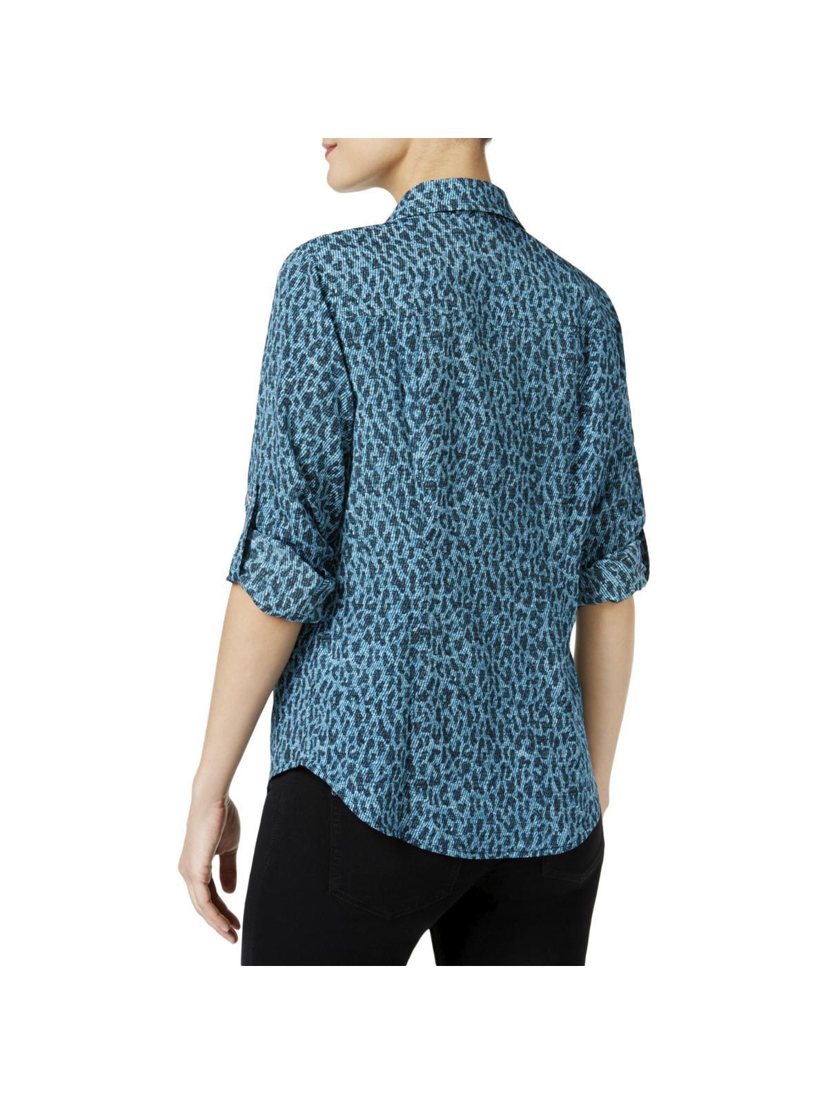 e7c3bd7af6 MICHAEL Michael Kors - MICHAEL Michael Kors Womens Leopard Print Zip Front  Blouse - Walmart.com