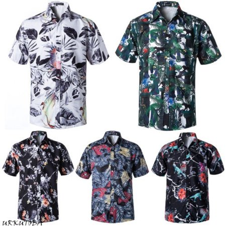 2a45ba799 Men Short Sleeve Hawaiian Shirts Summer Beach Holiday Fancy Dress Tops  XL-4XL - Walmart.com