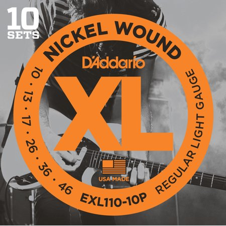 Pure Nickel Electric Strings - D'Addario EXL110-10P Nickel Wound Electric Guitar Strings, Regular Light, 10-46, 10 Sets