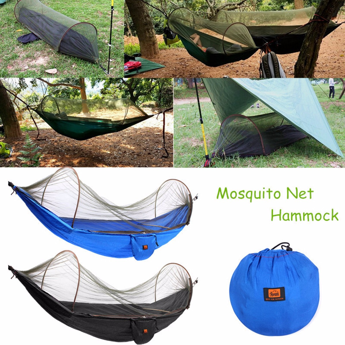 Parachute Hammock Portable Outdoor Camping Sleeping Hanging Bed With Mosquito Net
