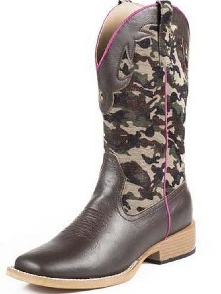 Roper Western Boots Girls Camo Square Toe Brown 09-018-1901-0101 BR