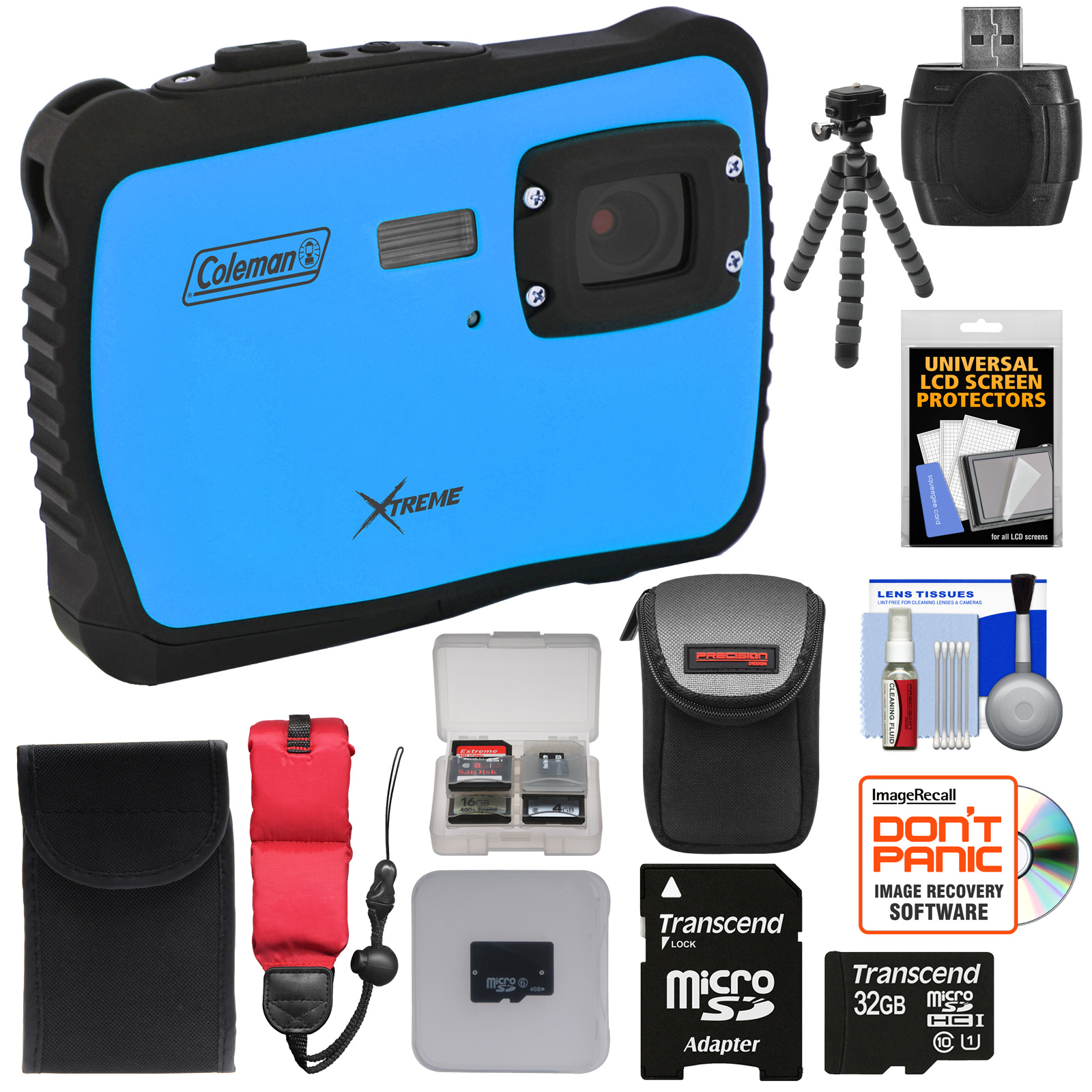 Coleman Xtreme C6WP HD Shock & Waterproof Digital Camera (Blue) with 32GB Card + Case + Flex Tripod + Kit
