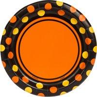 "7"" Orange Polka Dot Halloween Paper Dessert Plates, 30ct"