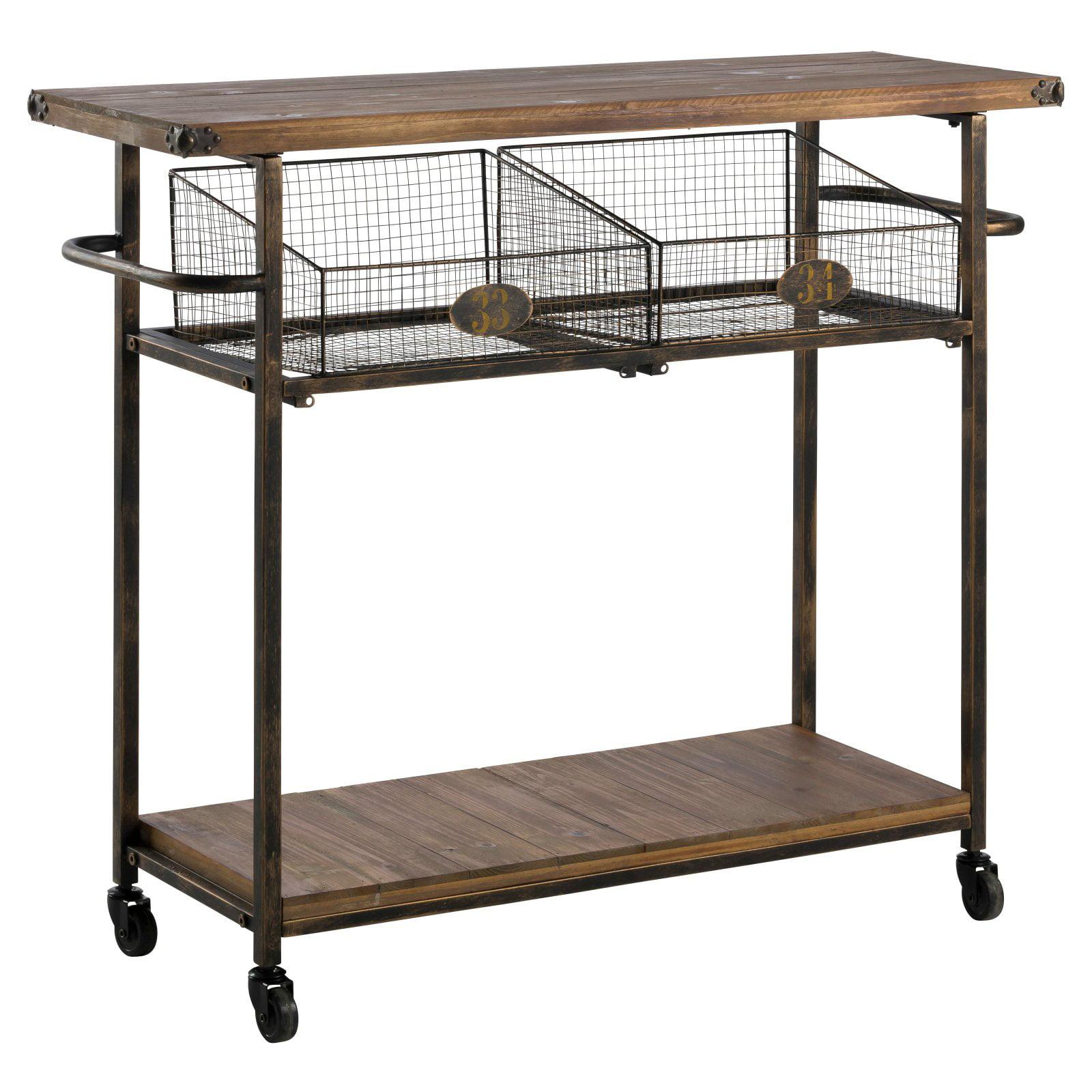 Welton Wood & Metal Serving Cart