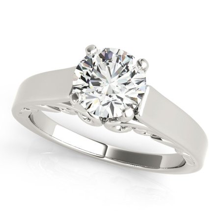 Topaz Antique Style Ring (14K White Gold Antique Style Solitaire Round Diamond Engagement Ring (1 ct. tw.) Size - 3)