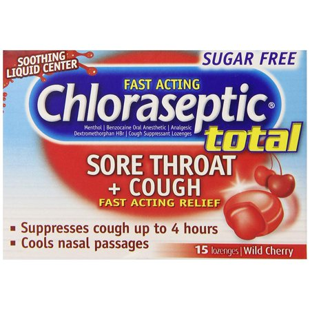 Chloraseptic Total Sugar Free Sore Throat + Cough Lozenges | Wild Cherry | 15 ct | Suppresses Cough and Cools Nasal Passages Throat Lozenges Cherry