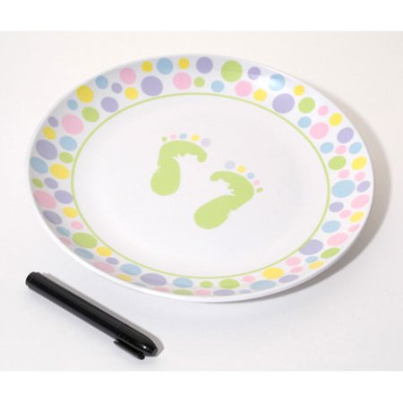 Autograph Plate with Marker - Baby Feet Design - Pastel