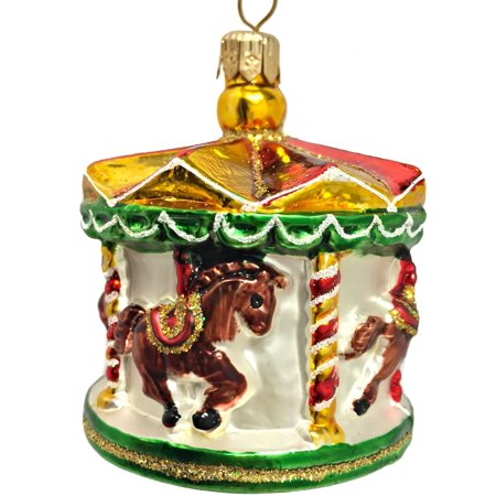 merry go round carousel polish blown glass christmas tree ornament decoration - Christmas Carousel Decoration