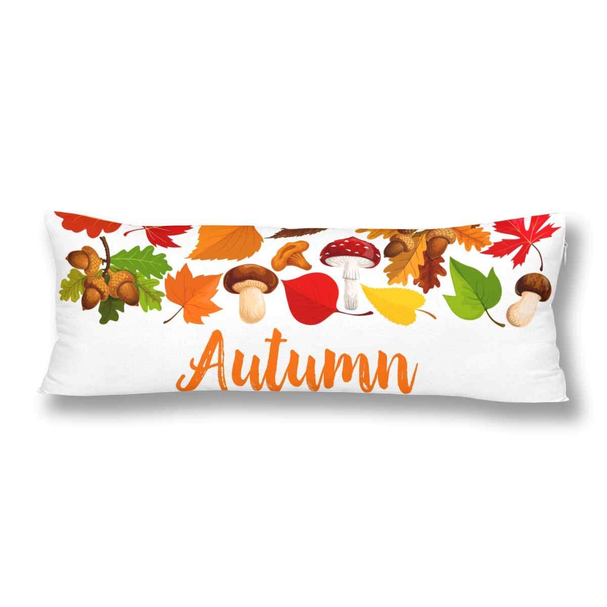 ABPHOTO Autumn Tree On Dry Meadow Over Blue Sky Fall Multi Colored Maple Leave Body Pillow Covers Case Pillowcase 20x60 inch Couch