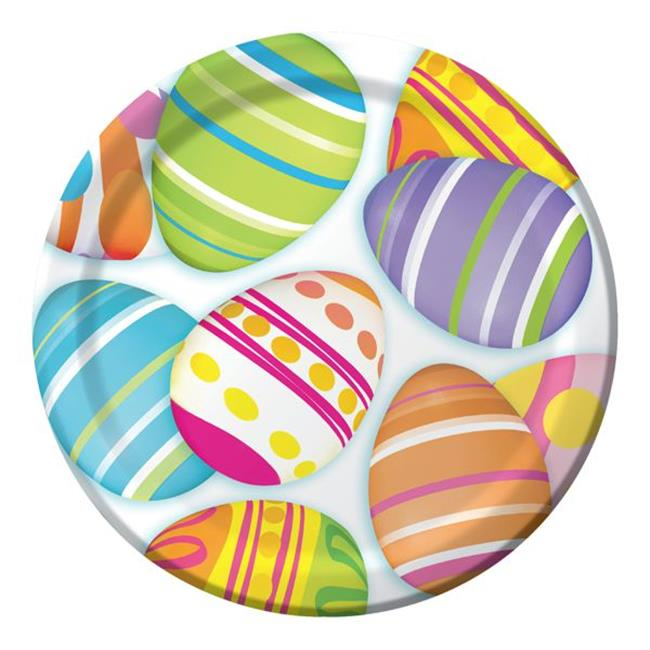 Hoffmaster Group 412204 7 in. Egg-Citement Paper Cake & Dessert Plates - 8 per Case - Case of 12