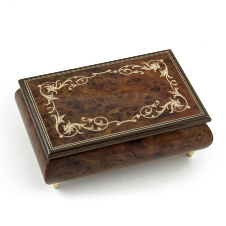 Contemporary 22 Note Wood Tone Music Box with an Arabesque Wood Inlay Design - Claire De (Wood Inlay Designs)