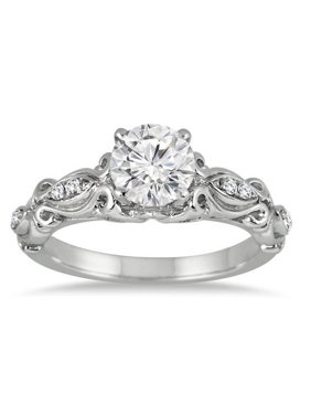 Antique Moissanite Wedding Ring 1.50 Carat Round Cut Moissanite Diamond on 10k White Gold