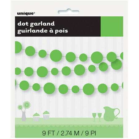 9' Polka Dots Paper Garland, Lime (Lite Green)