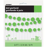 9' Polka Dots Paper Garland, Lime Green