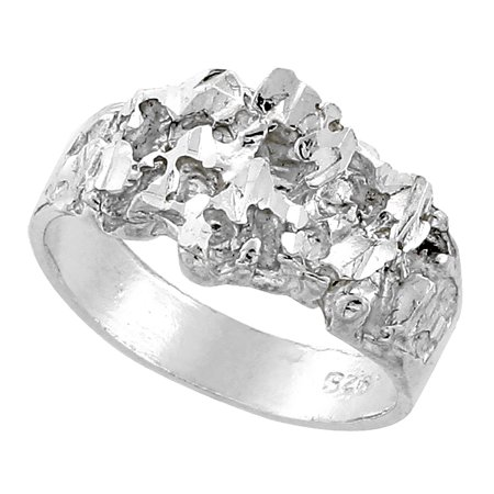 High Polished Nugget Ring (Sterling Silver Nugget Ring Diamond Cut Finish 7/16 inch wide, sizes 8 - 13 )