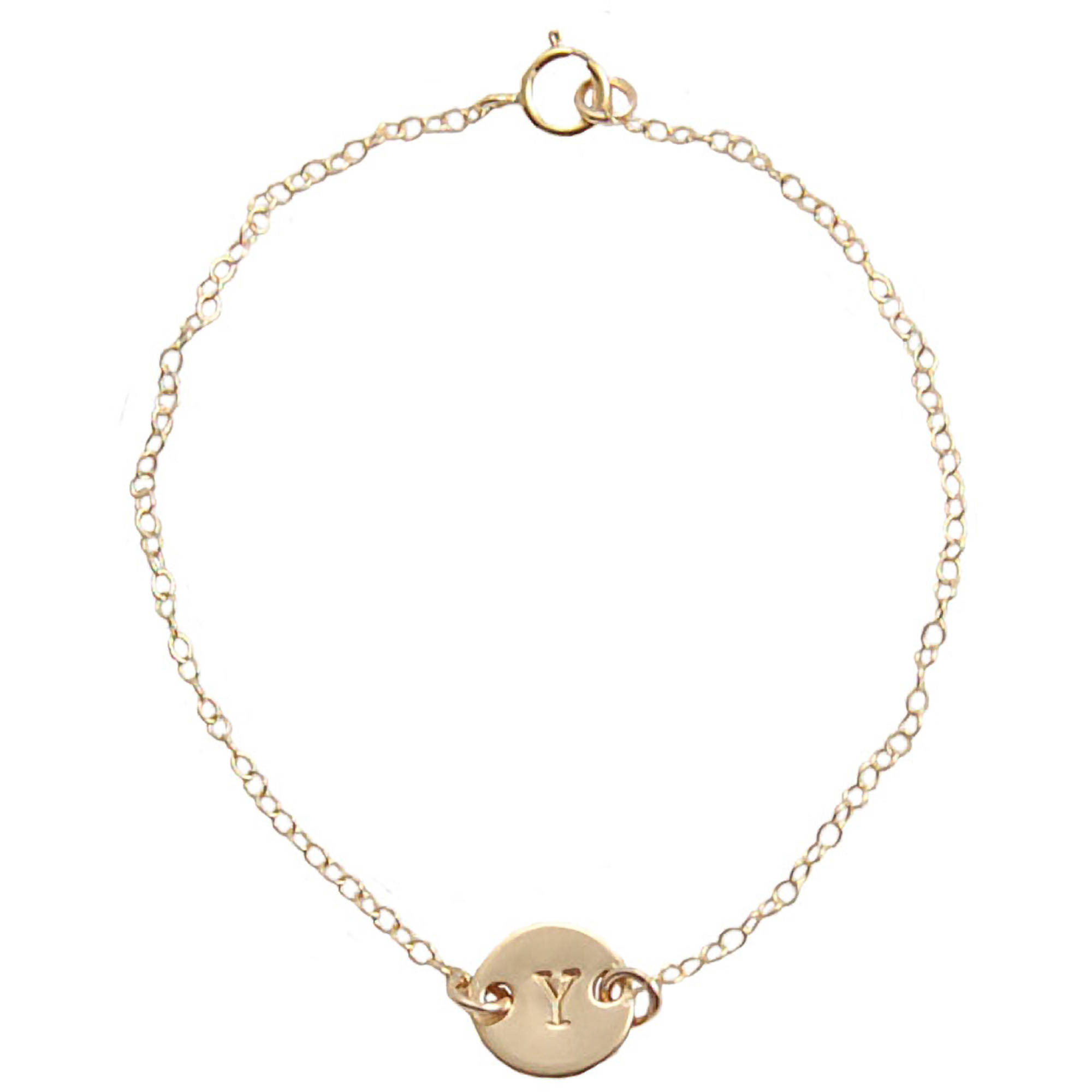 Miss Zoe by Calinana Initial Hand Stamped Bracelet, Gold