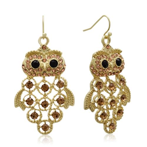 Adoriana Gold Overlay Black and Champagne Crystal Owl Earrings (1 3/4 inches)