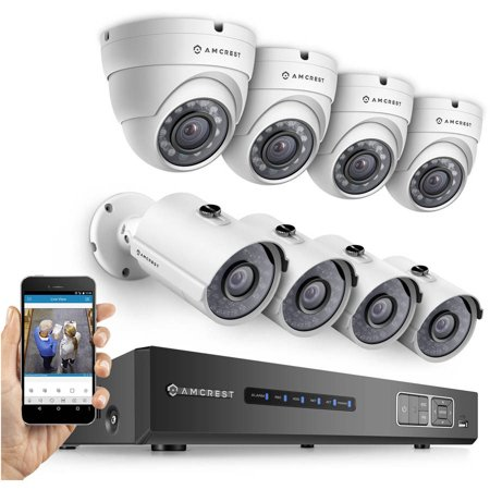 Amcrest HD 720p 8-Channel Video Security System with 8 1280TVL 1MP Weatherproof IP66 Dome and Bullet Cameras, 65' IR LED Night Vision, 2TB HDD, HD Over Analog/BNC and Smartphone View