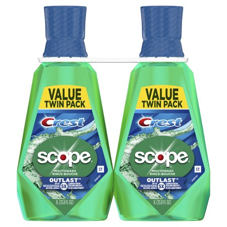 Crest Scope Outlast Mouthwash, Long Lasting Mint, 1 L, Pack of 2