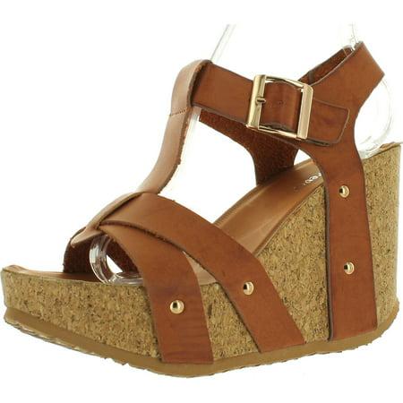 FOREVER MAYA-13 Womens Adjustable T-Strap Wedge Heel Platform -