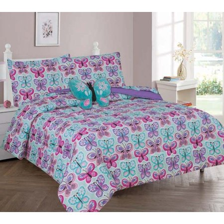 Twin Butterfly Blue Girls Bedding Set Beautiful