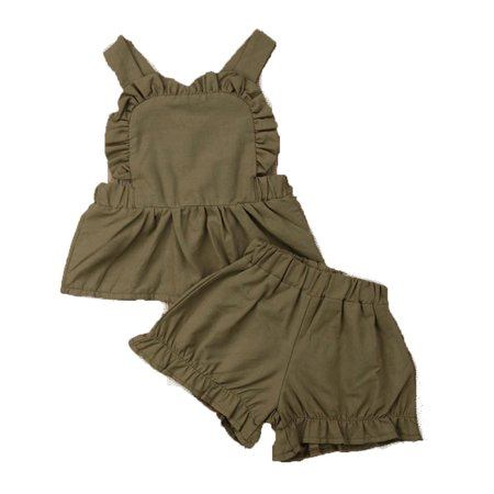 - Infant Toddler Baby Girls 2PCS Ruffle Sleeveless Tank Top+Short Summer Outfits