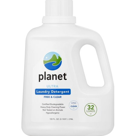 Planet Ultra Laundry Detergent, Free & Clear, Certified Biodegradable, 32 Loads, 100 oz.