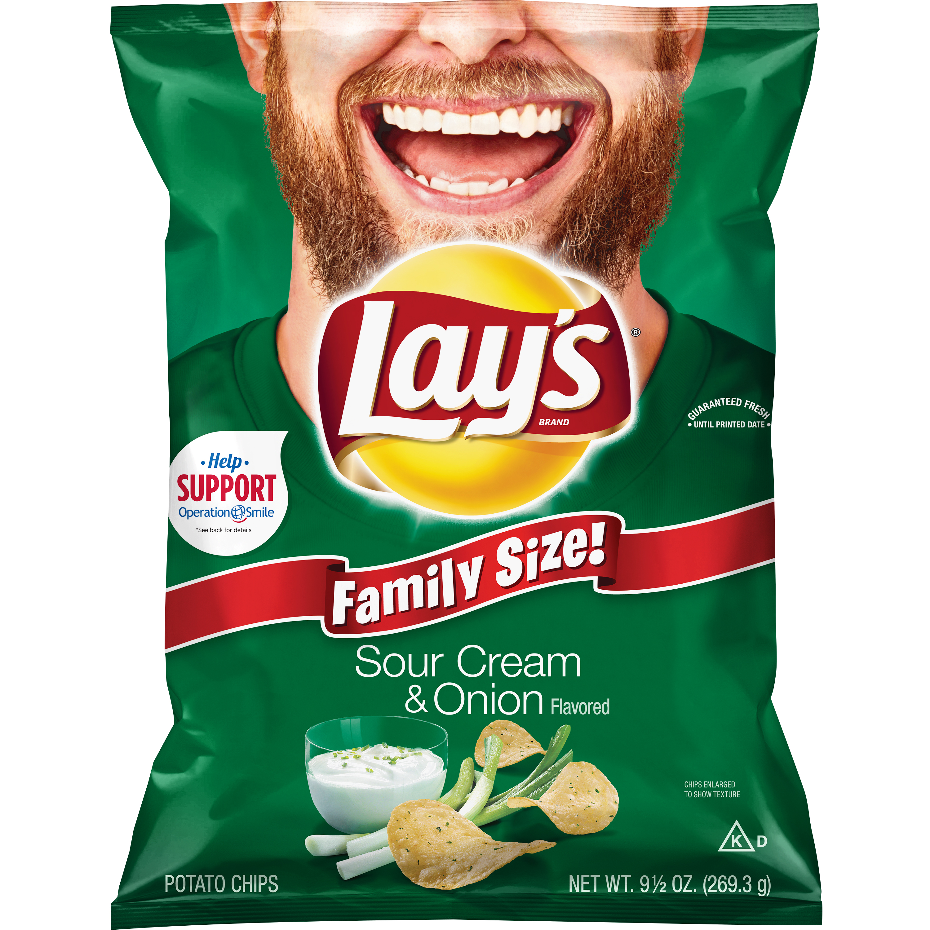 Lay's Sour Cream & Onion Flavored Potato Chips, 9.5 oz. Bag