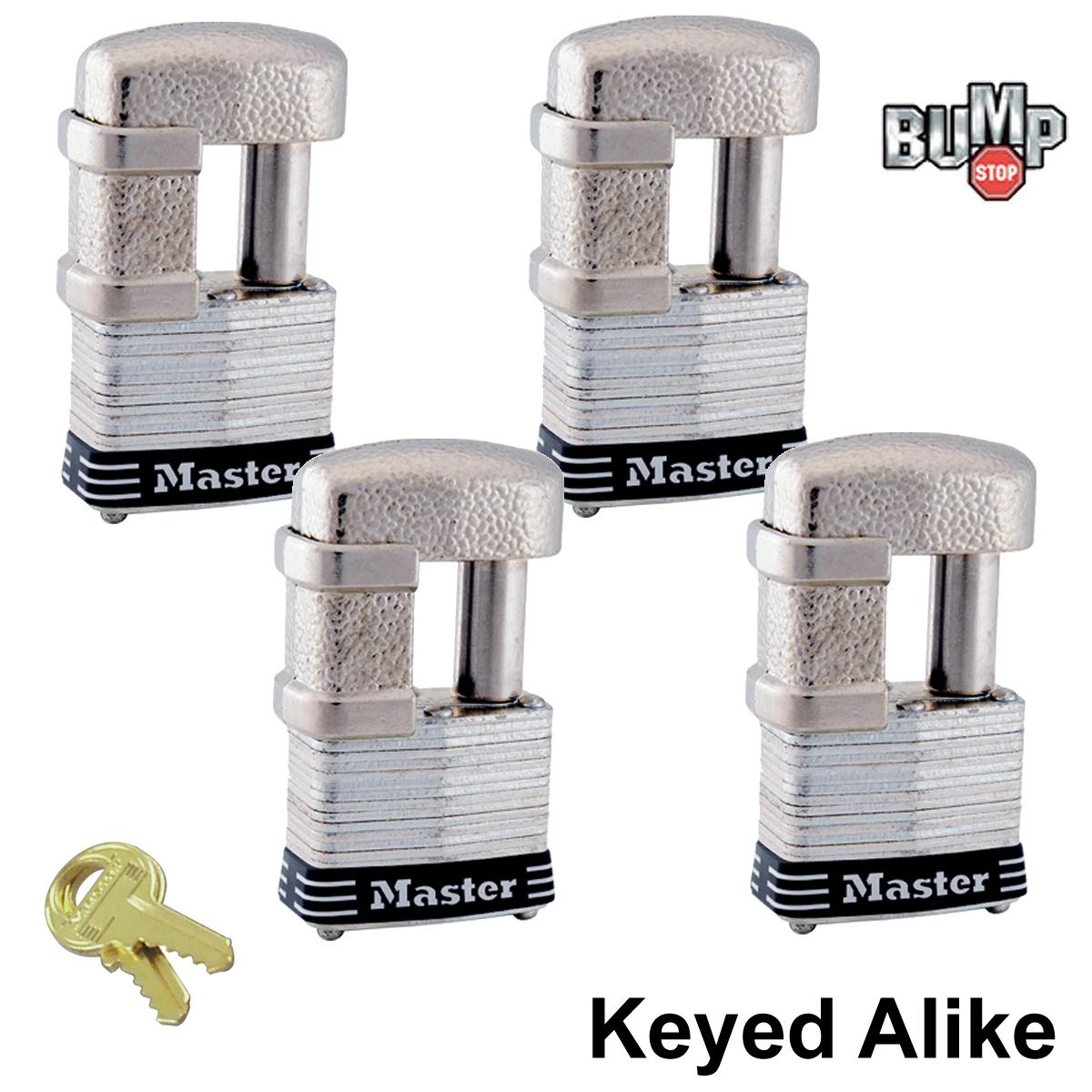 Master Lock - (4) Keyed Alike Trailer & Multi Purpose Padlocks #37NKA-4 BUMP