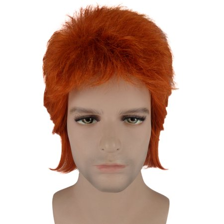 Adult Orange Short Wig 70s Rocker Hair Cosplay David Bowie Party - David Bowie Wigs