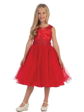 b615d57d0a5 Product Image Angels Garment Girls Red Bead Applique Junior Bridesmaid Flower  Girl Dress