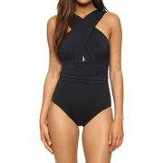 WLLW Women Sexy Swimwear One Piece Summer Solid Color Chest Cross Bodysuit Bathing Suit