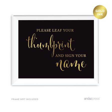 Programs, Please Take One Black and Metallic Gold Wedding Signs