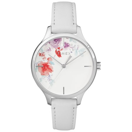 Women's Crystal Bloom White/Silver Floral Accent Watch, Leather Strap