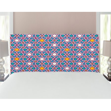 Orient Headboard, Geometric Lines and Stars Based on Traditional Oriental Eastern World, Upholstered Decorative Metal Bed Headboard with Memory Foam, Multicolor, by Ambesonne