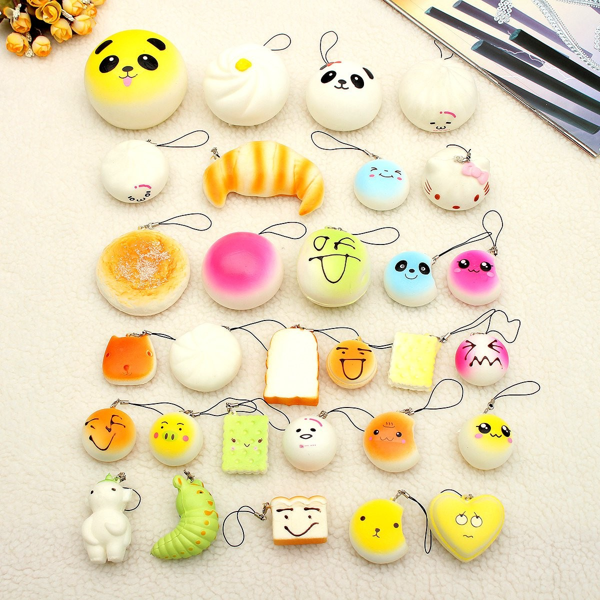 30Pcs Lovely Mini Soft Expression Cartoon Bread Ice-cream Bun Cellphone Straps Charms Random Squishy Toys Sets