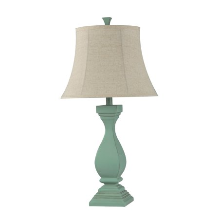 Poly Table Lamp - Oatmeal Softback Fabric Shade - Sea Mist Blue