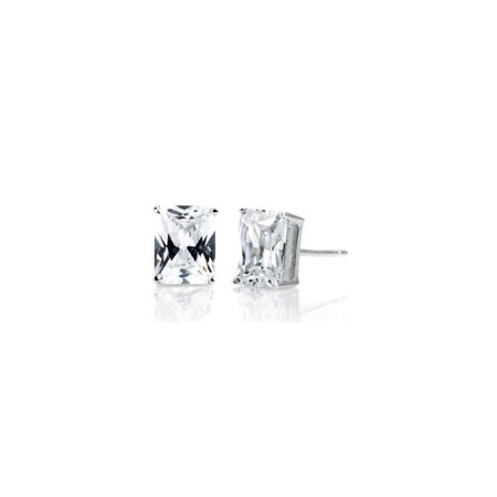 Pascollato Jewelry 925 Sterling Silver Emerald Cut Clear Cz Rectangle Post Stud Solitaire Earrings