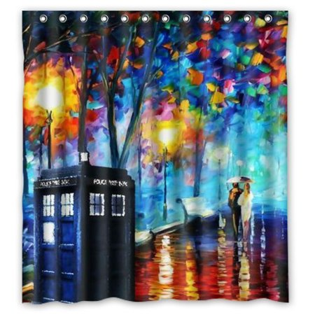 DEYOU Floral Print Doctor Who Shower Curtain Polyester Fabric Bathroom Size 66x72 Inches