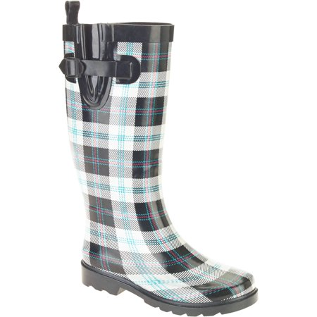 Women's Summer Plaid Printed Tall Rubber Rain