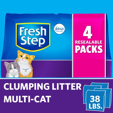 Fresh Step Multi-Cat Scented Litter with the Power of Febreze, Clumping Cat Litter, 38 Pounds